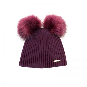 Berry dual bobble hat