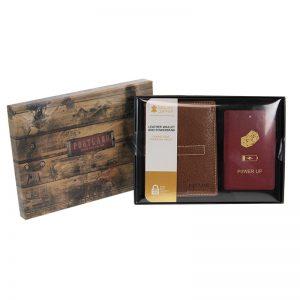 Tan wallet and powerbank